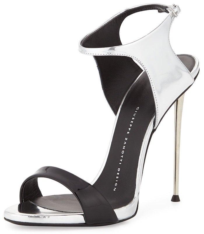Giuseppe Zanotti Patent/Metallic Ankle-Wrap Sandals