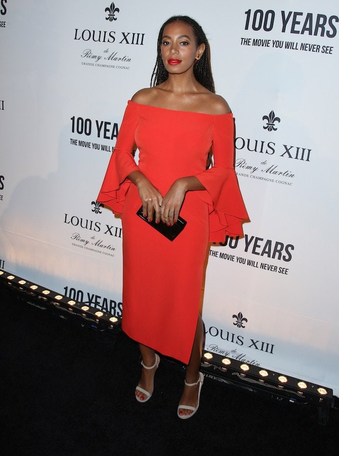 Beyonce's younger sister looked stunning in a bold, red dress from Milly's Spring 2016 collection