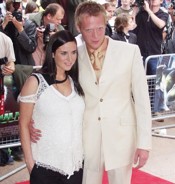 """Actress Jennifer Connelly with actor Paul Bettany attends the UK premiere of the film """"Hulk"""""""