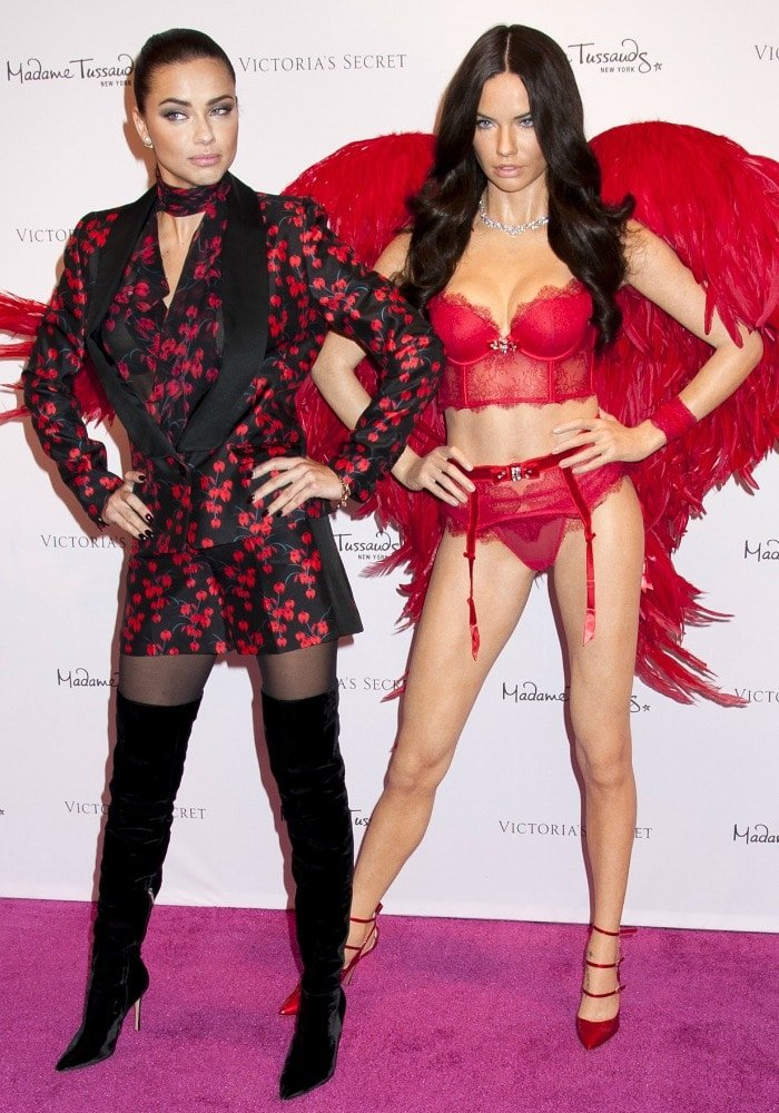 Adriana Lima poses with her new Madame Tussauds wax figure