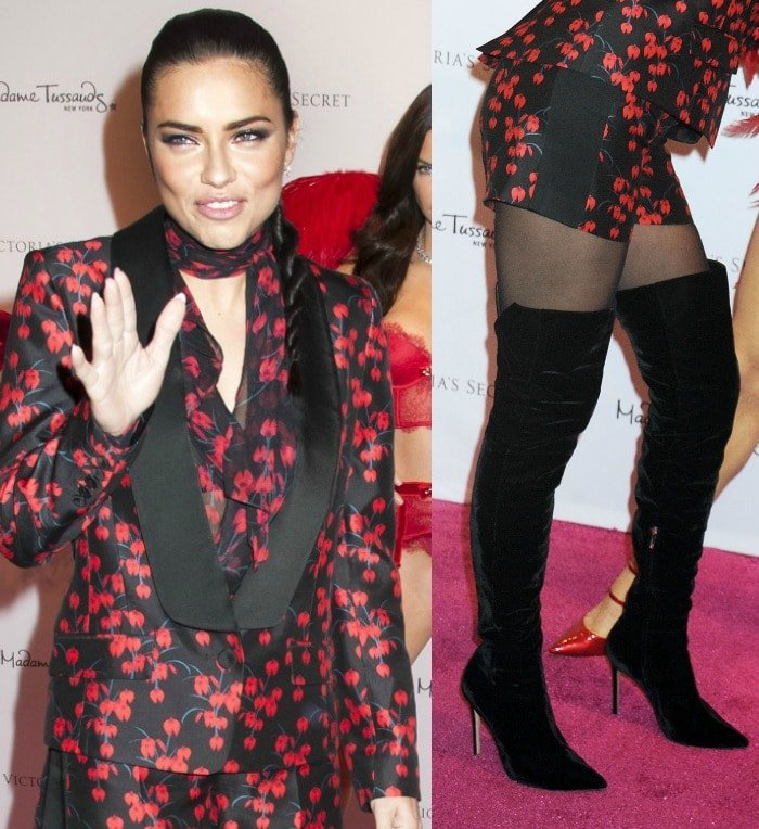 Adriana Lima wears a Rachel Zoe short suit at the unveiling of her wax statue