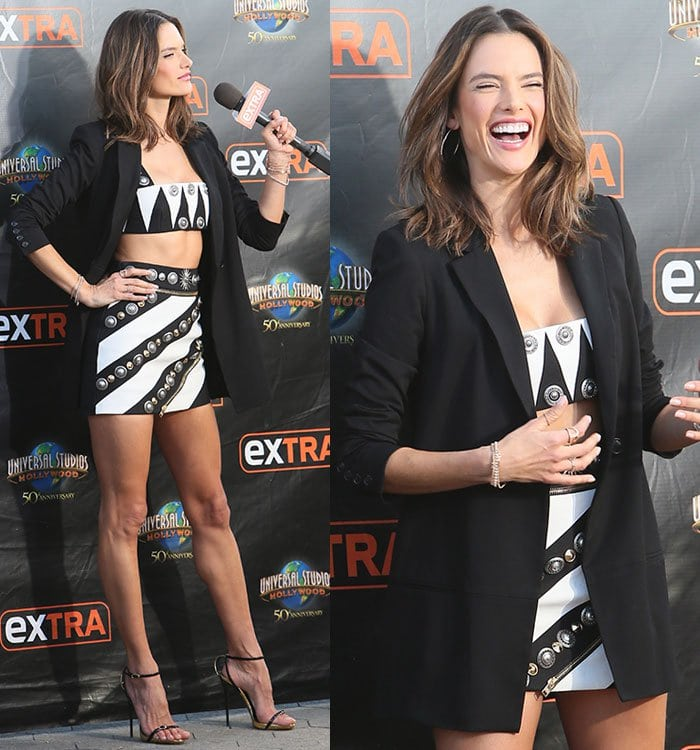 Alessandra Ambrosio wears a crop top-and-skirt combination from Fausto Puglisi's Resort 2016 collection