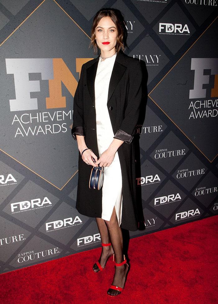 Alexa-Chung-white-dress-black-coat-red-heels