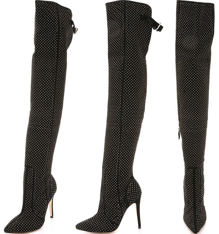 Studded suede gives these over-the-knee boots an edgy aesthetic