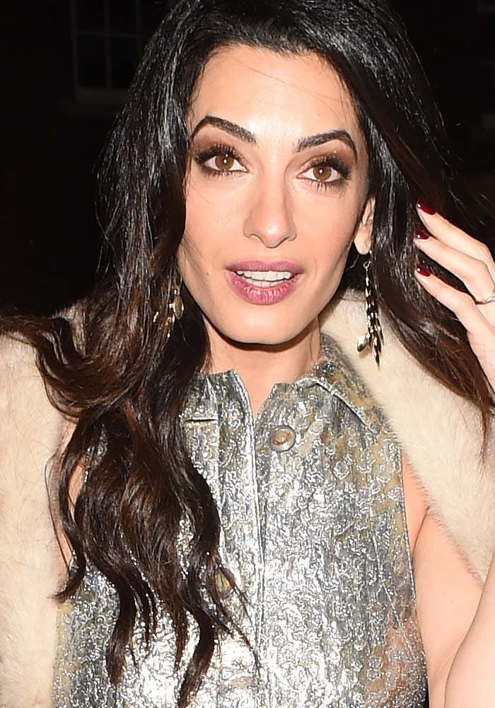"""Amal Clooneyarrives at Charlotte Tilbury's """"Naughty Christmas Party"""" flagship store launch in London on December 3, 2015"""