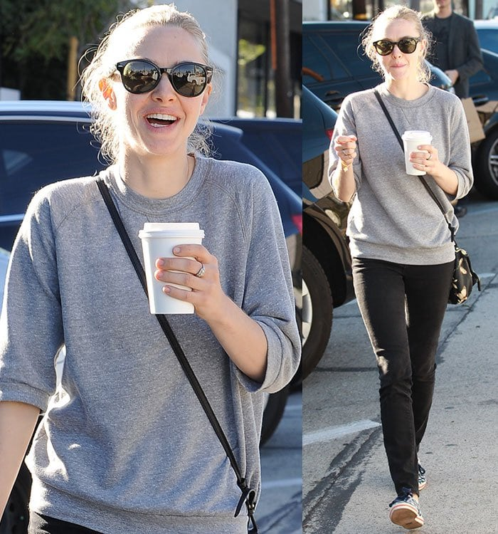 Amanda Seyfried wears her hair back as she leaves Gracias Madre restaurant in West Hollywood