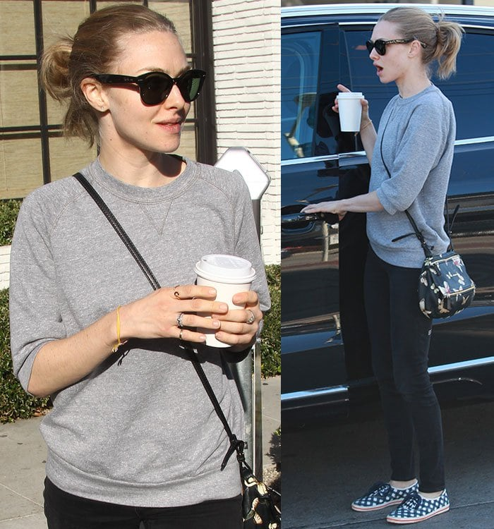 Amanda Seyfried wears a gray sweatshirt while out for coffee