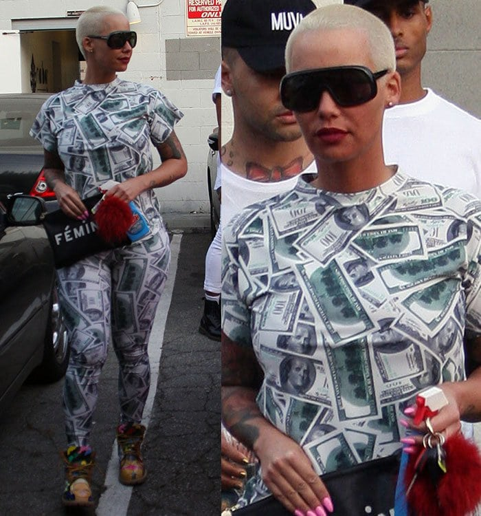 Amber Rose sports her trademark close-shaved blonde hair while leaving a nail salon