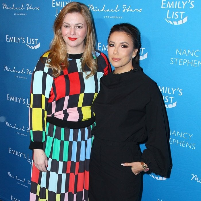 Amber Tamblyn and Eva Longoria arrive at Emily's List 3rd annual pre-Oscars event
