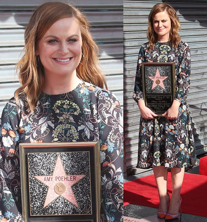 Amy Poehler wears a floral-print Zara dress as she receives her star on the Hollywood Walk of Fame