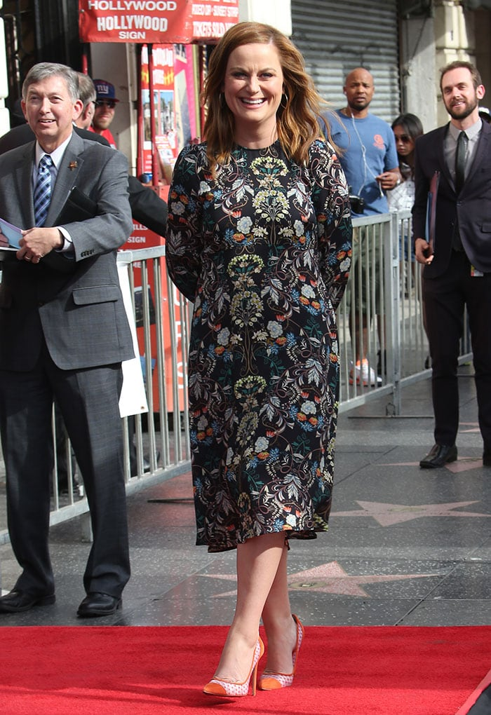 Amy Poehler wears her hair down as she arrives at the Hollywood Walk of Fame