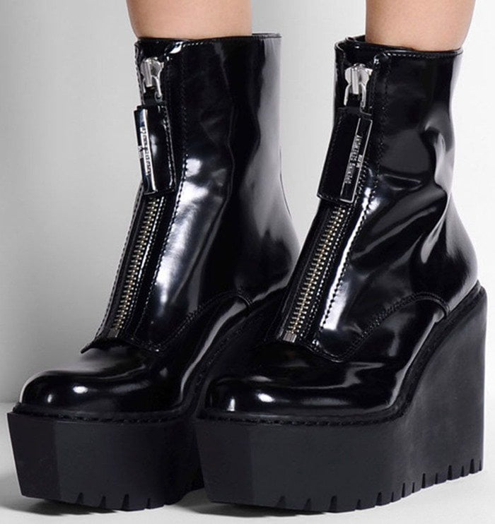 Opening Ceremony Black Patent Leather Luna Wedge Boots