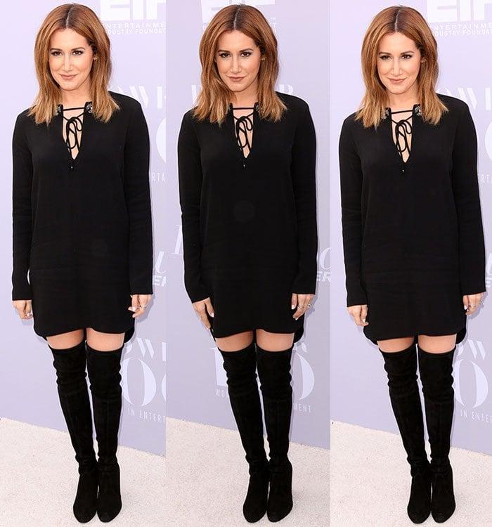 Ashley-Tisdale-black-mini-dress-thigh-high-boots