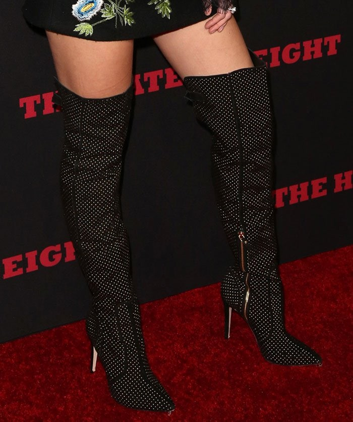 Bella Thorne rocks black Alice + Olivia boots
