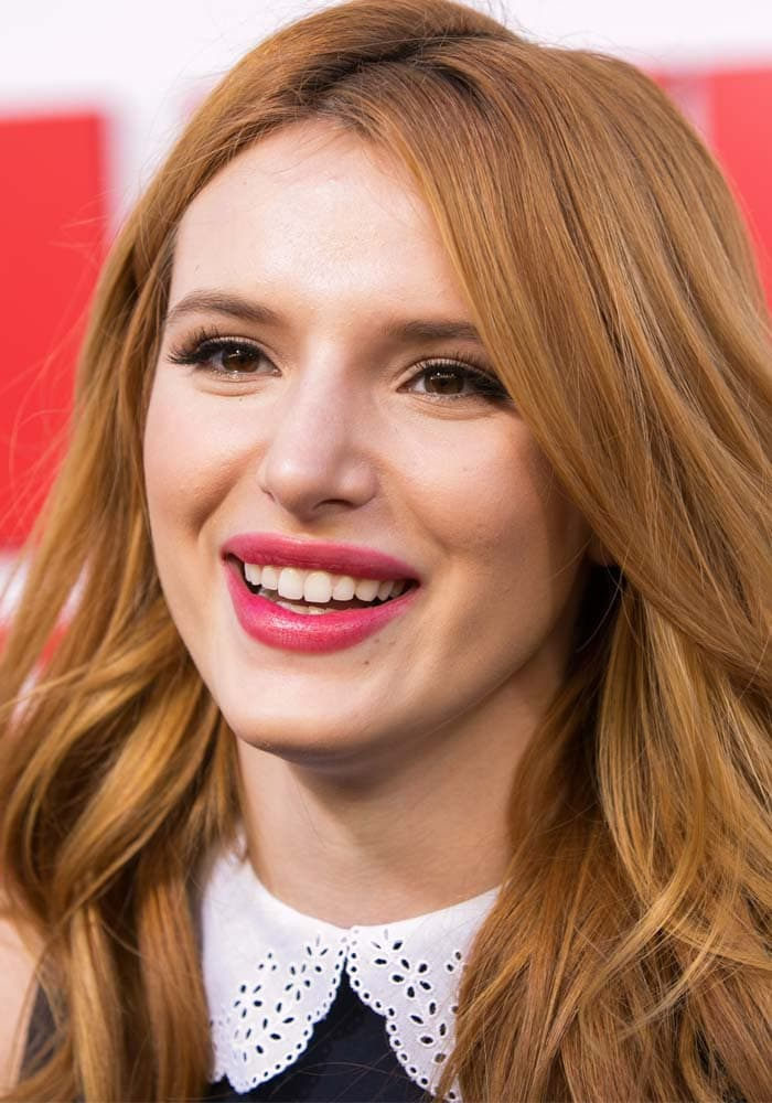 "Bella Thorne wears her hair down at the premiere of ""Alvin and the Chipmunks: The Road Chip"""