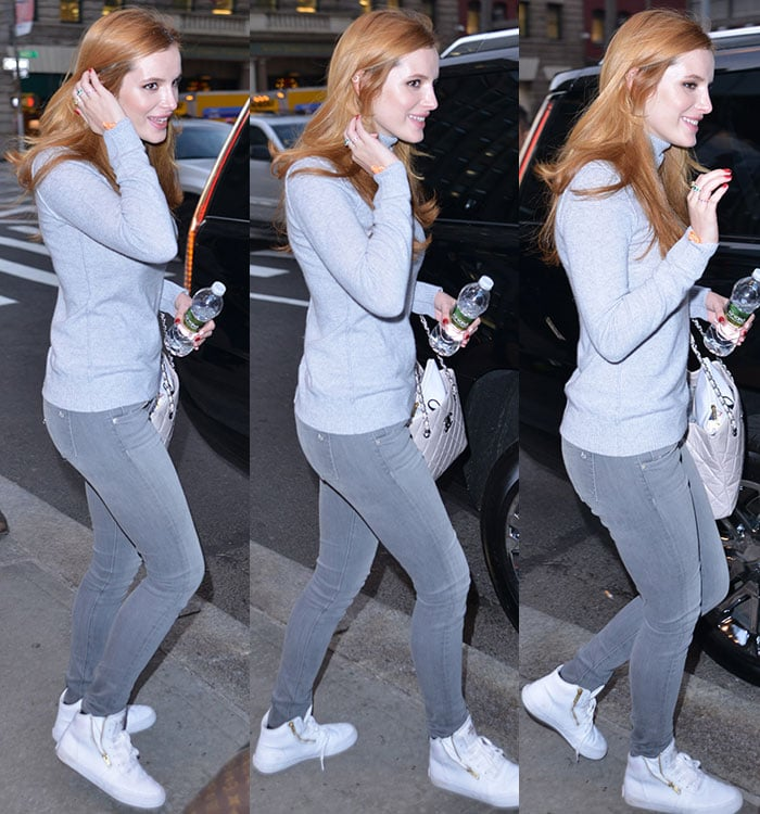 Bella-Thorne-Aqua-Cashmere-gray-sweater-jeans-sneakers