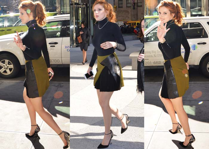 Bella Thorne wears a Wolford top and Mugler skirt while out on a hot dog run
