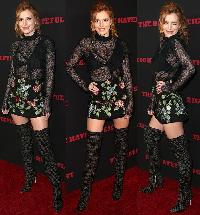 Bella Thorne winks at the cameras from the red carpet