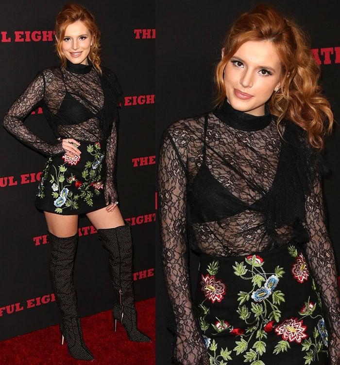Bella Thorne shows off her bra in a sheer lace top
