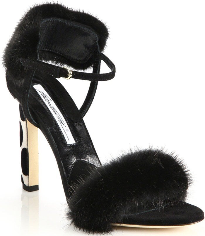 Brian Atwood Black Myra Suede & Mink Fur Sandal