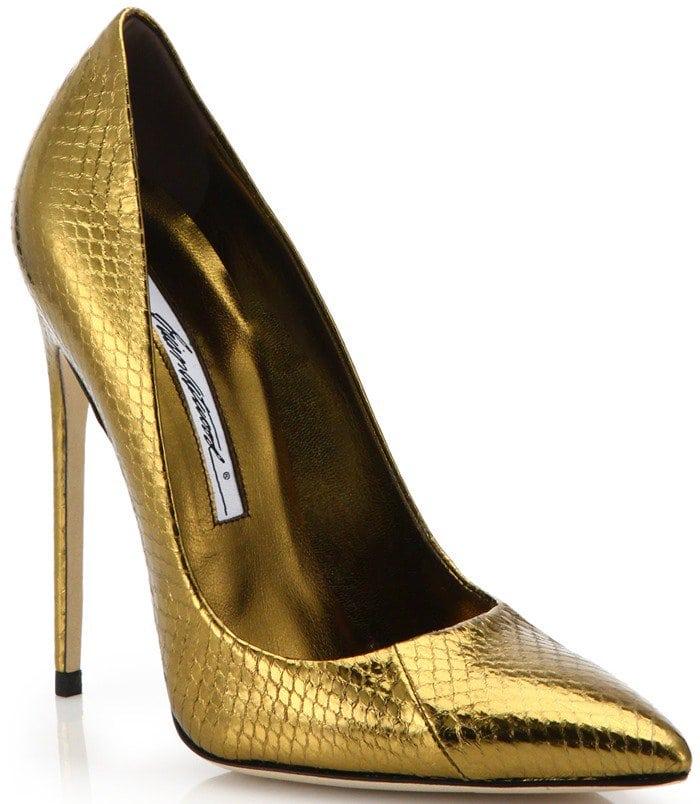 Brian Atwood Gold Fm Metallic Snakeskin Pumps