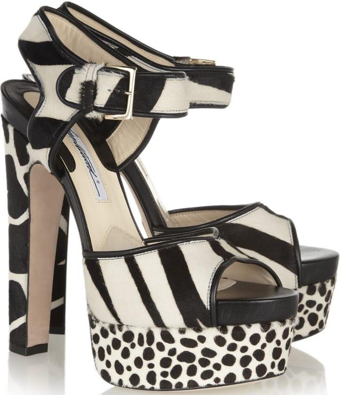 Brian Atwood Karin Animal Print Calf Hair Platform Sandals