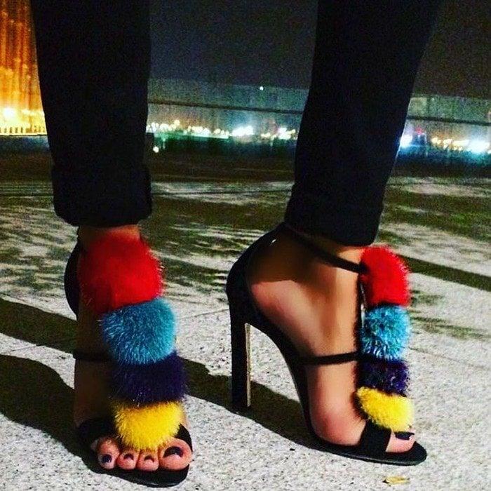 Brian Atwood Multicolor Genie Suede & Mink Fur Sandals
