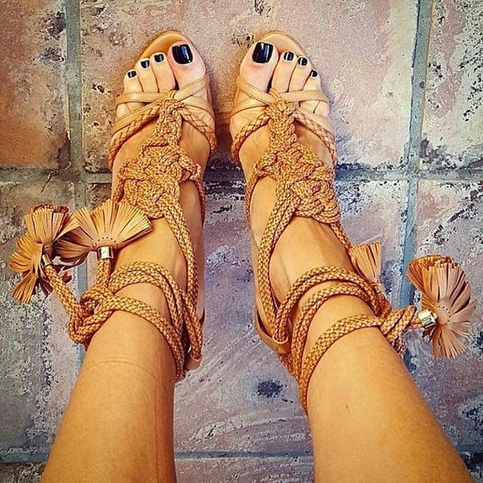 Brian Atwood Yuna braided leather sandal