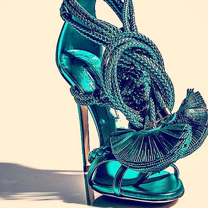 Brian Atwood Yuna leather sandals green woven