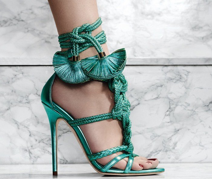Brian Atwood Yuna leather sandals green
