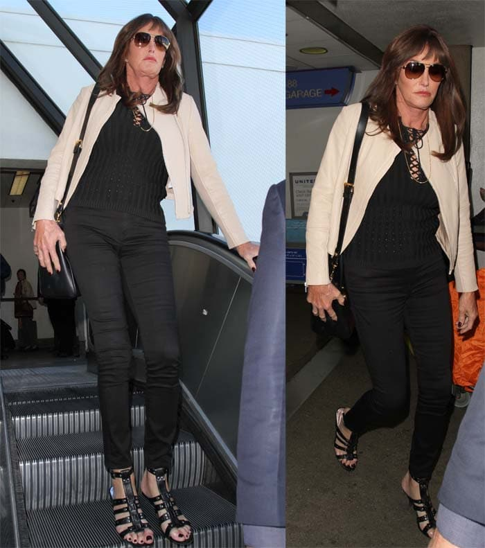 Caitlyn Jenner wears a beige leather jacket as she arrives at LAX
