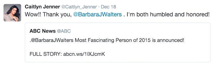 Caitlyn Jenner thanks Barbara Walters for naming her the Most Fascinating Person of 2015
