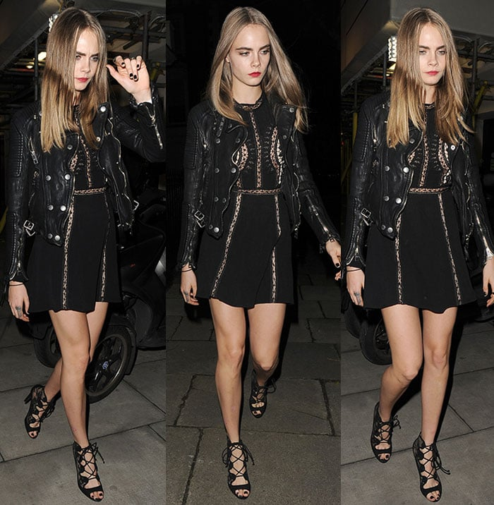 Cara Delevingne leaves London's Scala night club in an all-black look