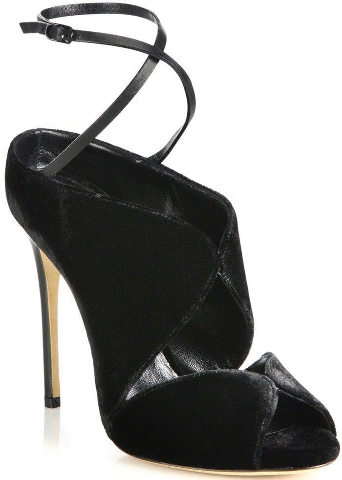 Casadei Black Crisscross Velvet Ankle-tie Sandals