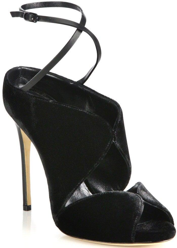 Casadei Criss-Cross Velvet Ankle-Tie Sandals