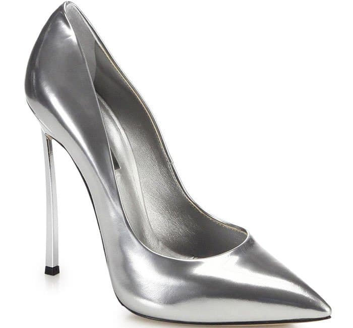 Casadei Blade Metal-Heeled Pumps Silver