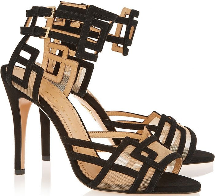 Charlotte-Olympia-Between-The-Lines-suede-mesh-sandals