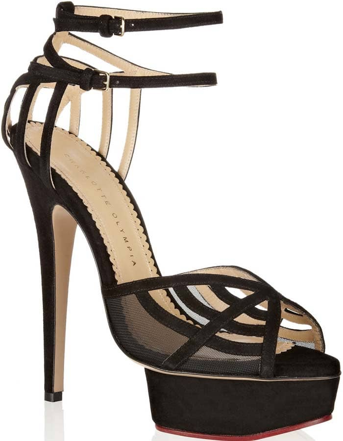 Charlotte Olympia's suede platform sandals are designed to resemble the brand's signature spider web motif