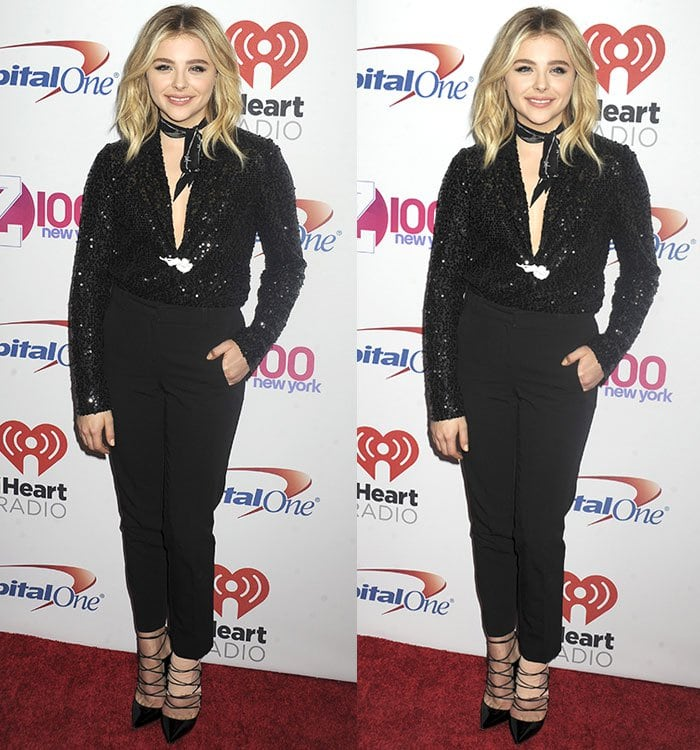 Chloe Grace Moretz wears a sparkling blazer and black cigarette pants on the red carpet