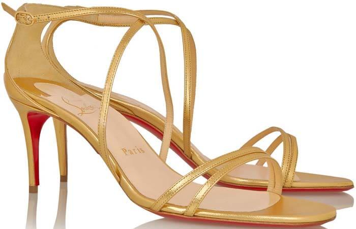 Christian Louboutin Gwinee 70 Metallic Leather Sandals Gold