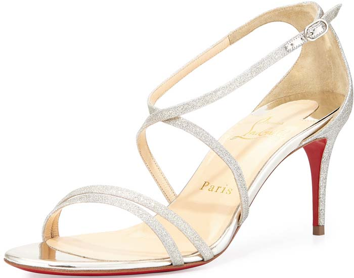 """Christian Louboutin """"Gwinee"""" Strappy Glitter Red Sole Sandal in Ivory/Beige"""
