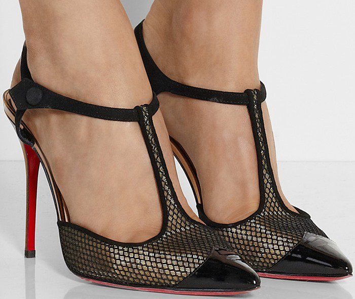 """Christian Louboutin """"T Cool"""" Suede-Trimmed Mesh Pumps"""