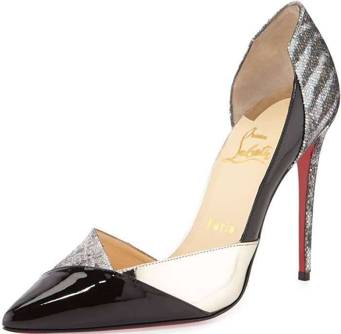 """Christian Louboutin """"Tac Clac"""" Patchwork Glitter Half d'Orsay Red Sole Pump"""