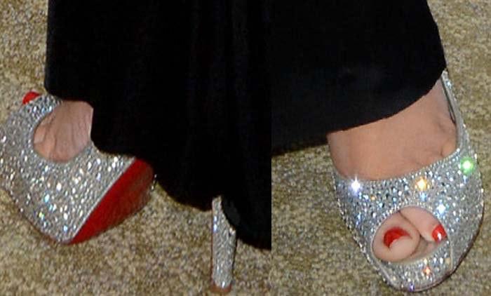 Christina Aguilera's feet in Christian Louboutin heels