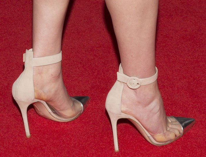 Daisy Ridley's sweaty feet in pumps with clear PVC sides