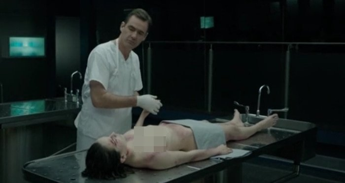 Daisy Ridley's naked character Hannah Kennedy receives an autopsy in Silent Witness