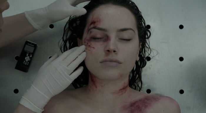 Daisy Ridley as naked murder victim Hannah Kennedy in Silent Witness