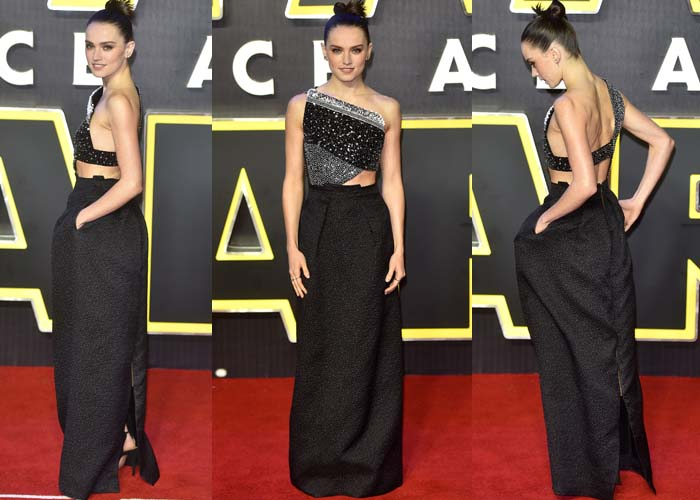 """Daisy Ridley wears a bespoke Roland Mouret gown to the """"Star Wars"""" premiere"""