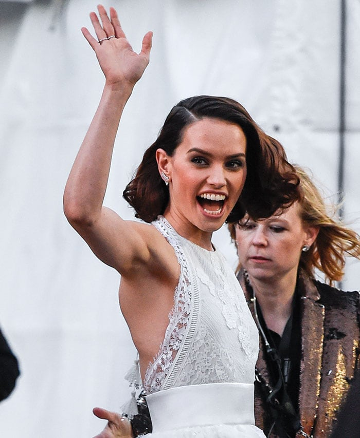 """Daisy Ridley at the premiere of Walt Disney Pictures and Lucasfilm's """"Star Wars: The Force Awakens"""" at the Dolby Theatre, TCL Chinese Theatre and El Capitan Theatre in Hollywood on December 14, 2015"""