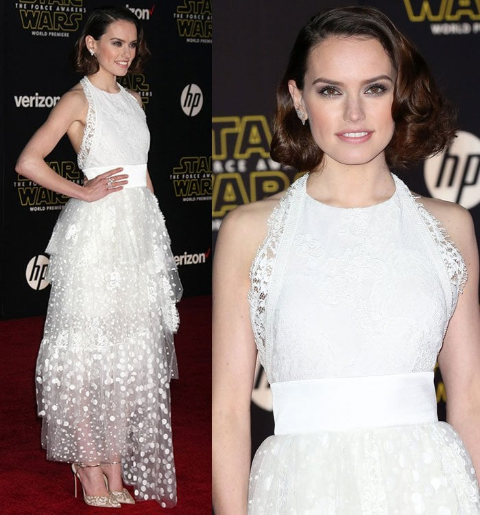 Daisy Ridley's side-parted curls and soft makeup with smoky eyes and pink lips